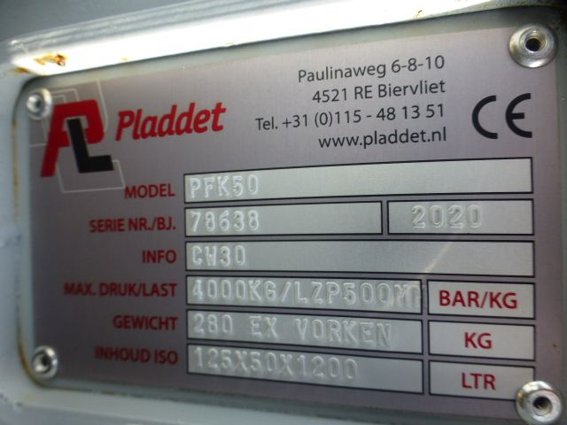 Palletvorken Pladdet CW30/40 aansluiting