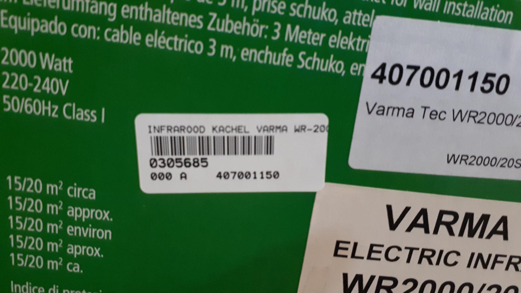 Varma WR 2000 infrarood verwarmer RVS