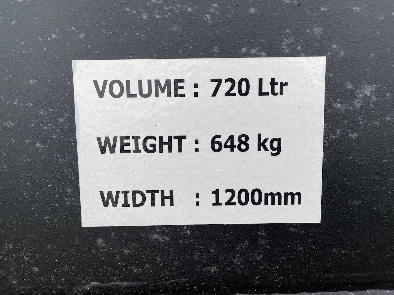 Dieplepel met tanden 1200mm 720 liter CW30/40